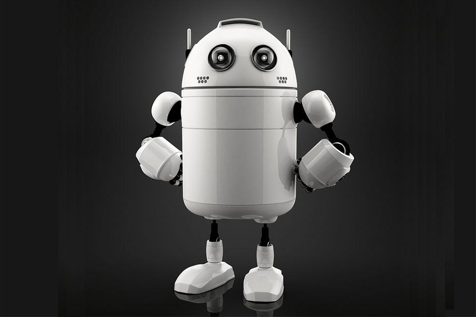 Weißer Roboter auf schwarzem Grund