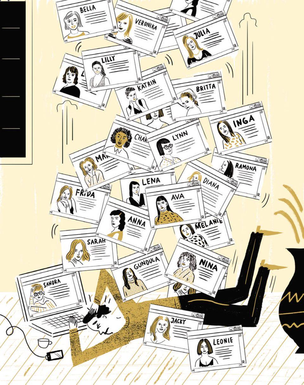 Partnerbörsen: Rund 200 Profile schauen sich Nutzer von Onlineportalen im Schnitt nach jedem Einloggen an. Das große Angebot erschwert es vielen, sich für einen Kandidaten zu entscheiden – und macht sie Studien zufolge oft auch unzufriedener mit der irgendwann getroffenen Wahl