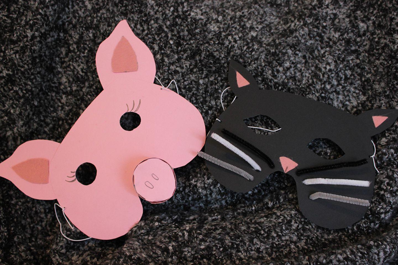 Schweinchen- und Katzen-Maske aus Pappe