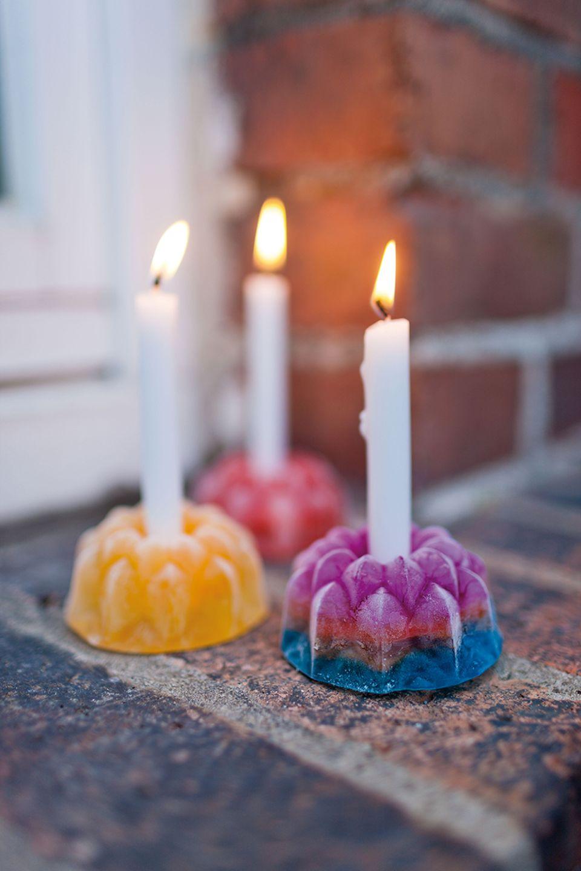 Kerzenhalter aus Eis
