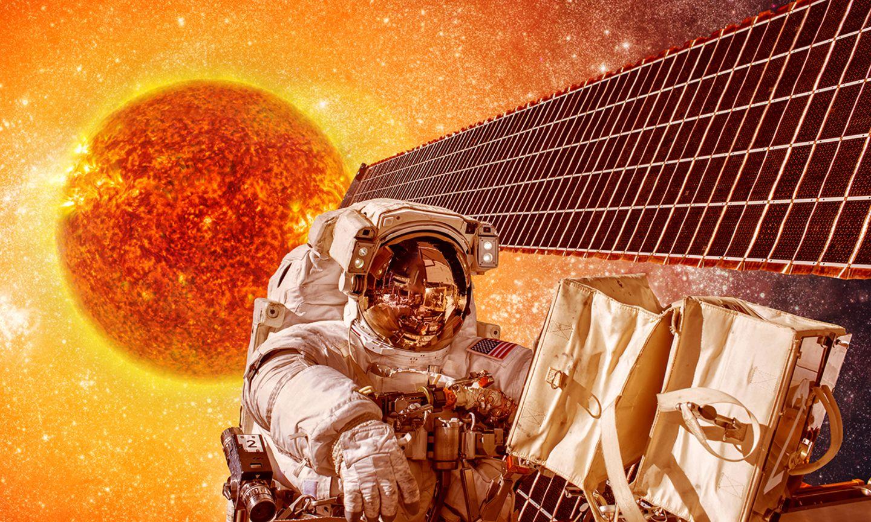 Astronaut bei der Sonne im Weltraum
