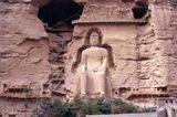 Die Maitreya-Statue in der Wand des Bingling-Tempels