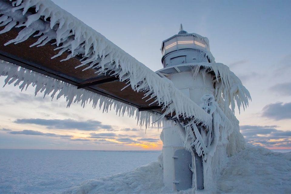 Eingefrorener St. Joseph Leuchtturm