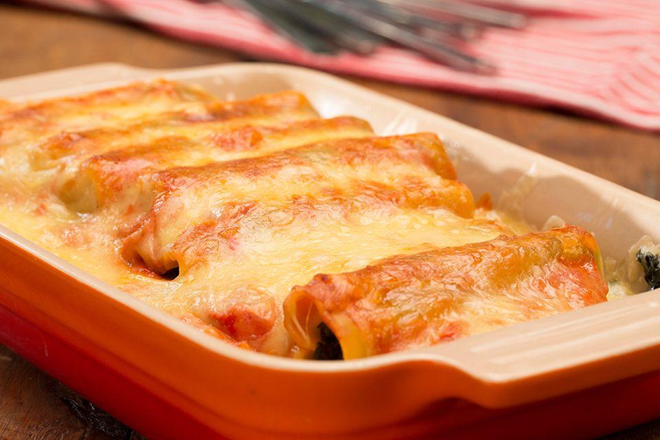 Cannelloni mit Spinat und Frischkäse