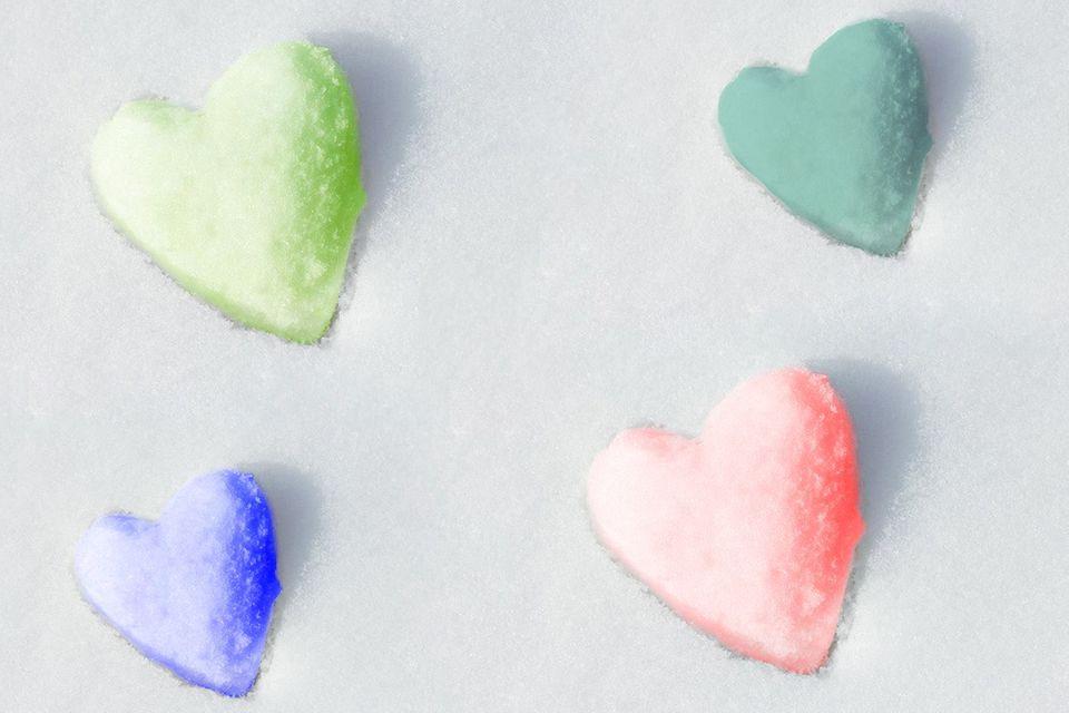 Herz-Kekse aus Schnee