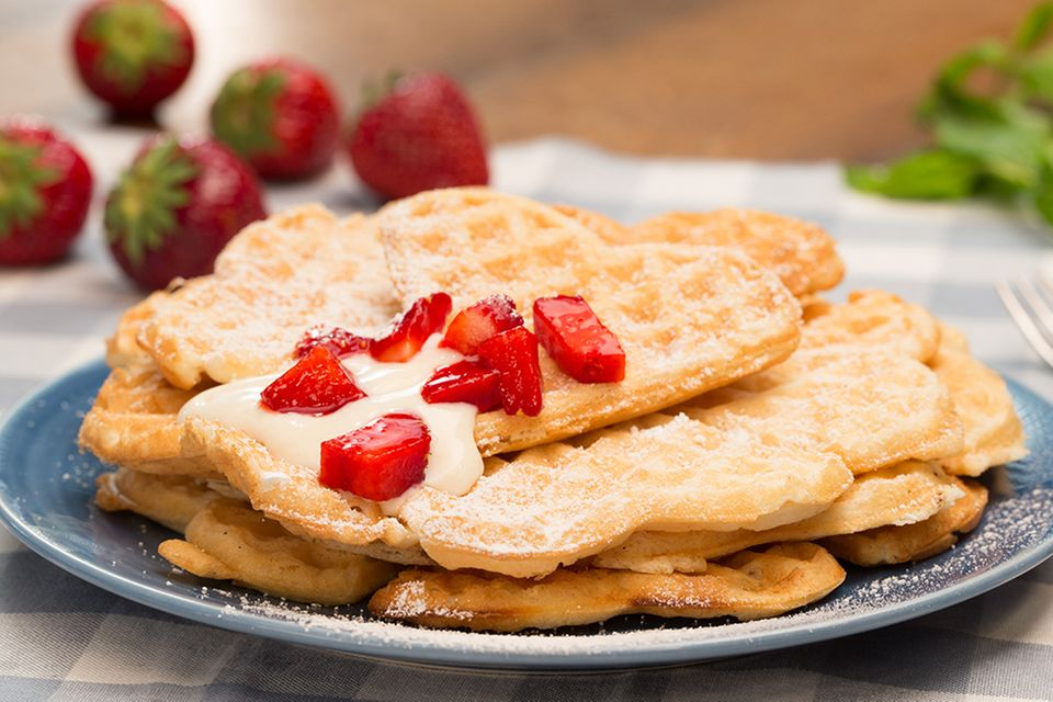 Vegane Waffeln mit Erdbeeren