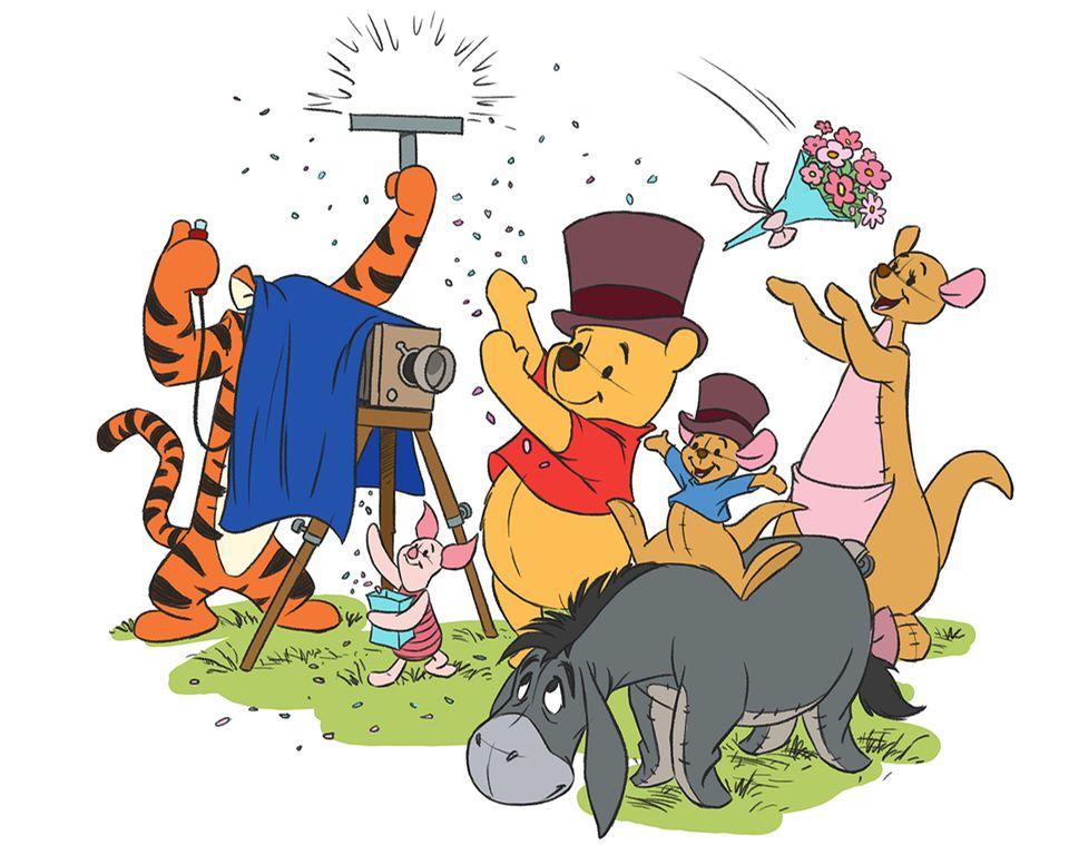 Winnie Puuh feiert mit seinen Freunden