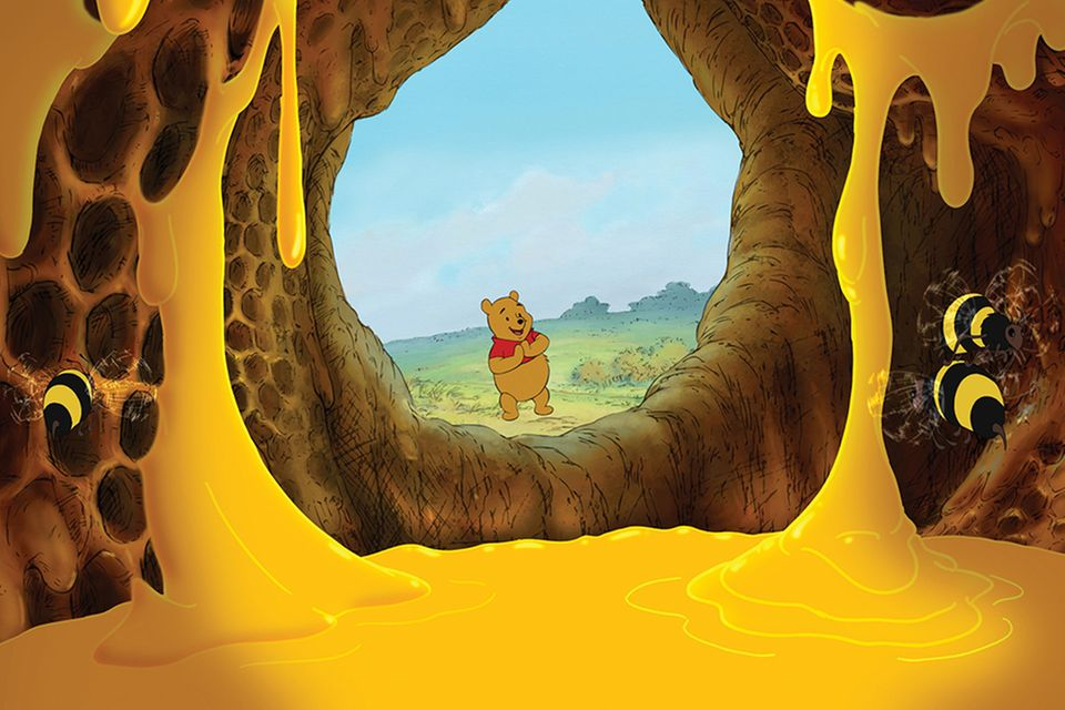 Winnie Puuh in einer Höhle voll Honig