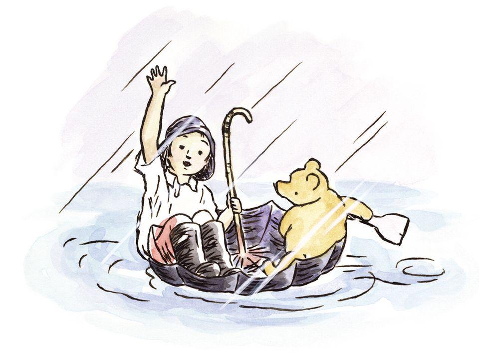 Pu Bär mit Ferkel und Christopher Robin im Regenschirm