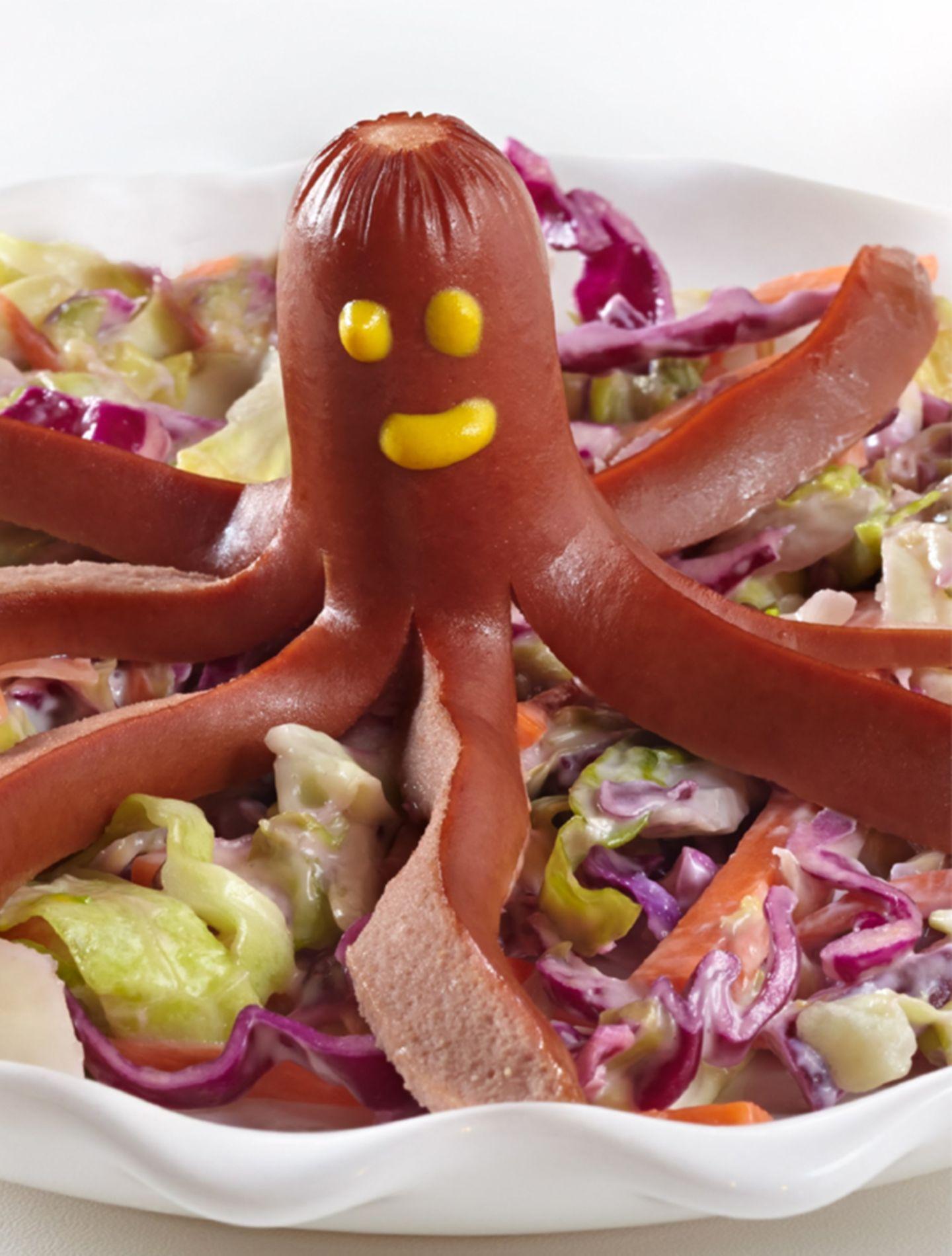 Wiener Würstchen als Tintenfisch