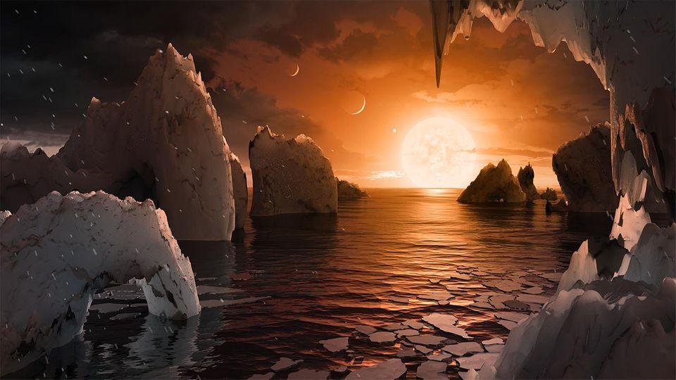 Oberfläche des Planeten Trappist-1f