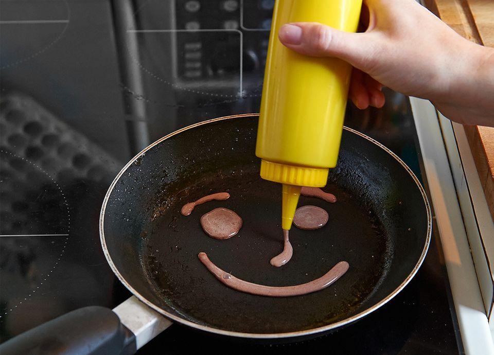 Smiley Pfannkuchen braten