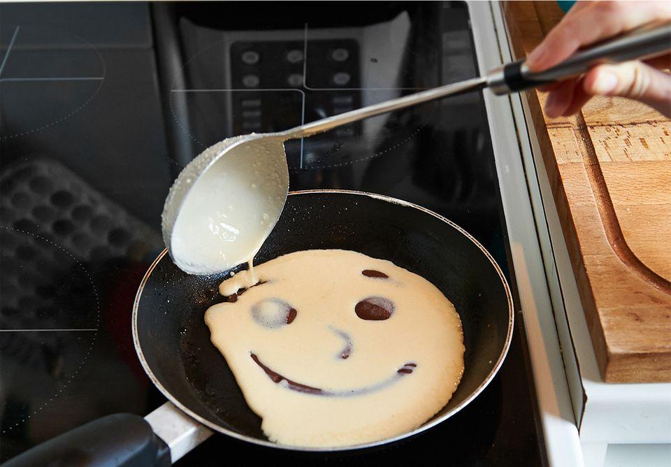 Pfannkuchen mit Gesicht