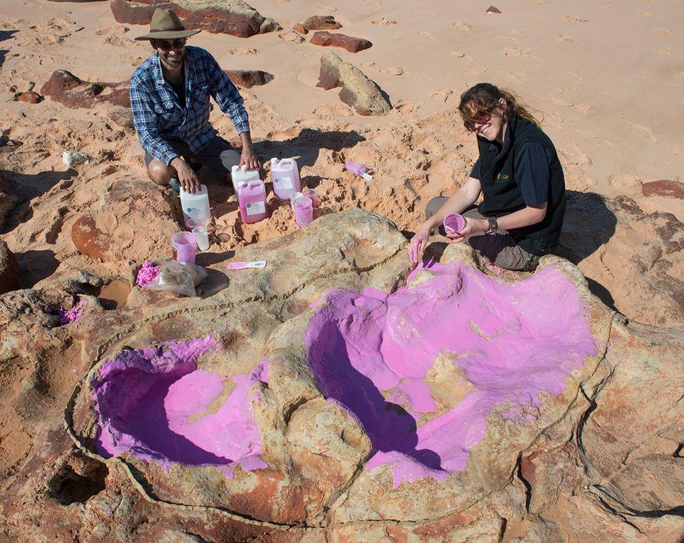Dr Anthony Romilio und Linda Pollard (UQ) fertigen einen Silikonabdruck einer Sauropoden-Spur an