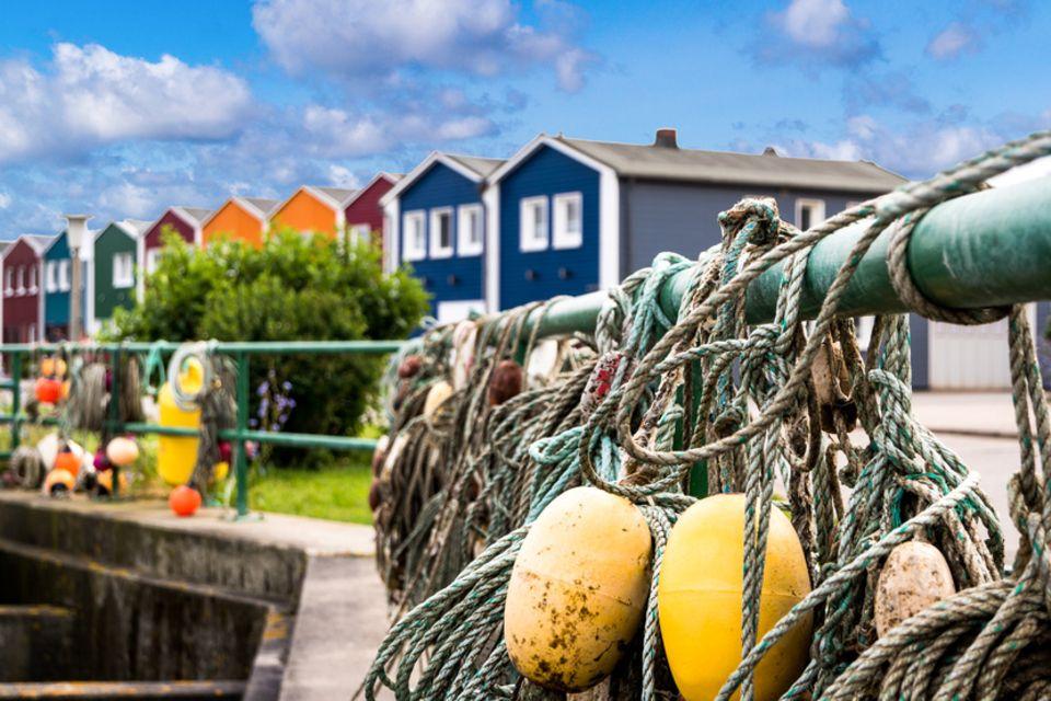 Hummerbuden auf der Insel Helgoland