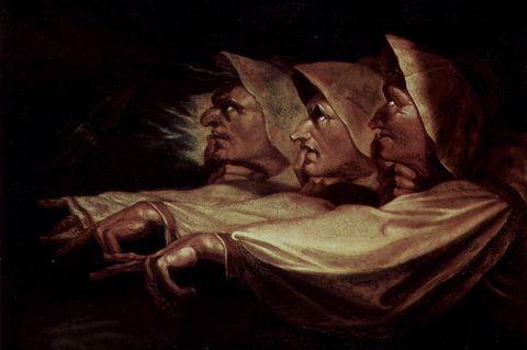 Macbeth - 1040 bis 1057: Shakespeares Version von Macbeth war Vorlage für viele Künstler - in diesem Gemälde von Johann Heinrich Füssli (1783) sind die drei Hexen abgebildet
