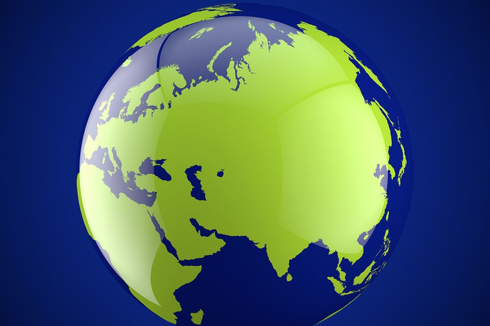 Weltkugel mit Asien
