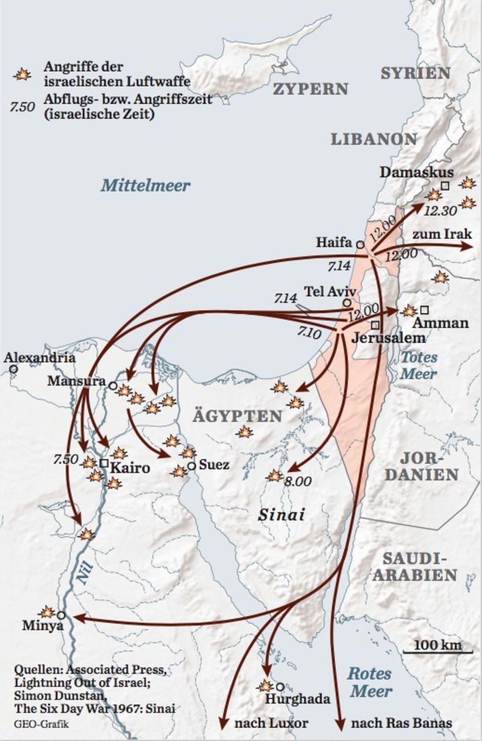 Karte Sechstagekrieg: Der Luftkrieg