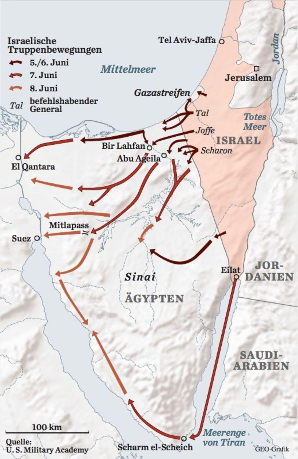 Karte Sechstagekrieg: die Sinai-Front