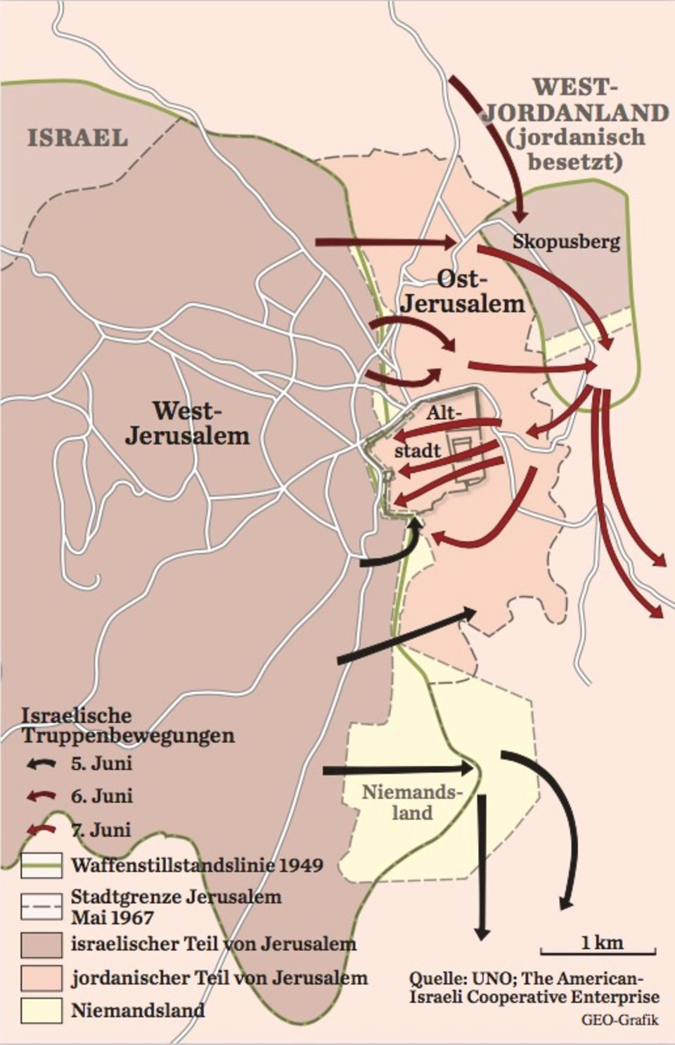 Karte Sechstagekrieg: Jerusalem