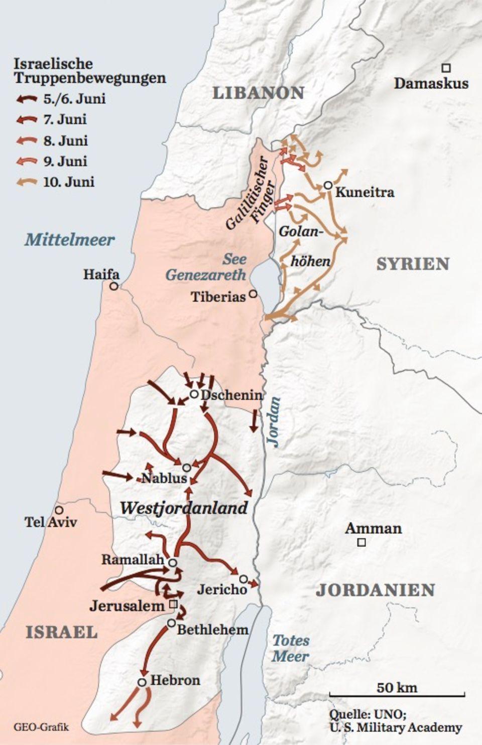 Karte Sechstagekrieg: Westbank und Golanhöhen