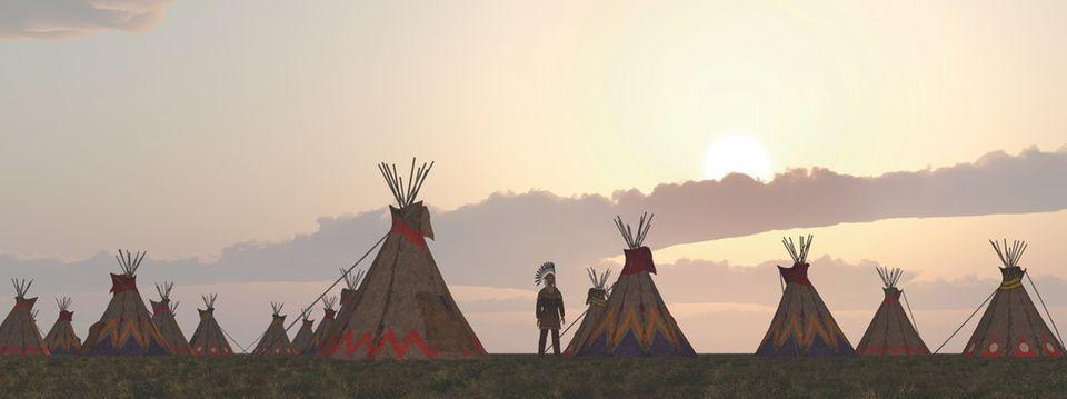 Indianer Siedlung bei Sonnenuntergang