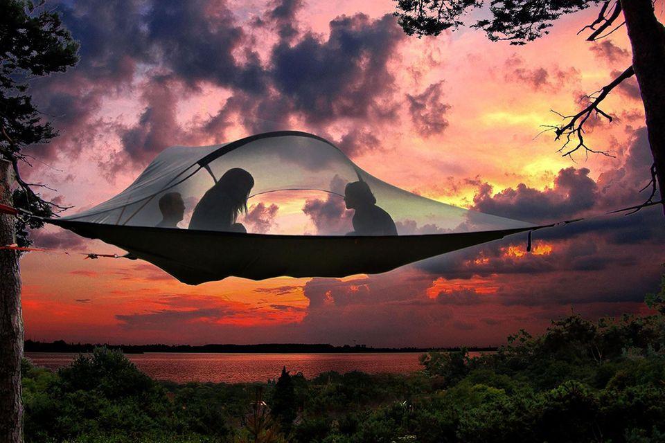 Zelten in den Baumwipfeln, Finnland