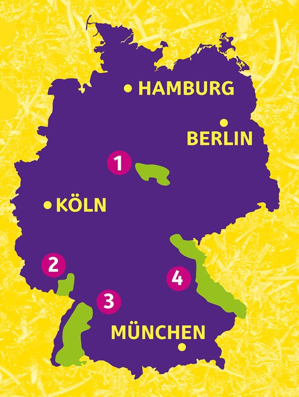 Verbreitungskarte der Luchse in Deutschland