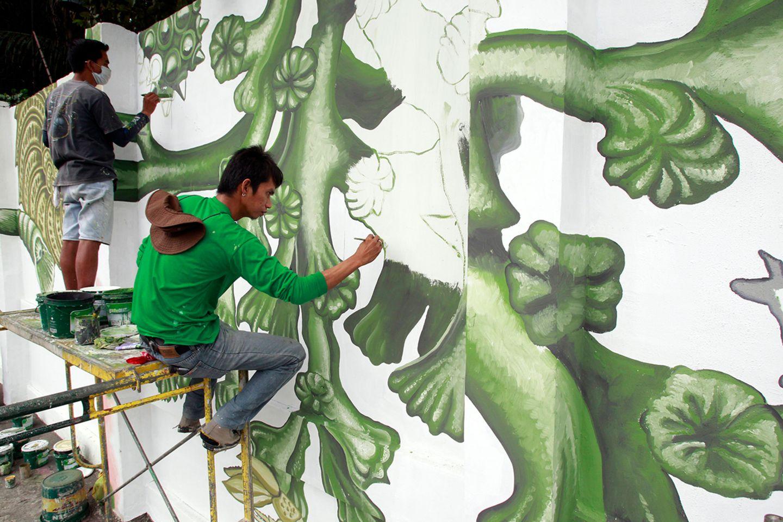 Manila, grüne Streetart
