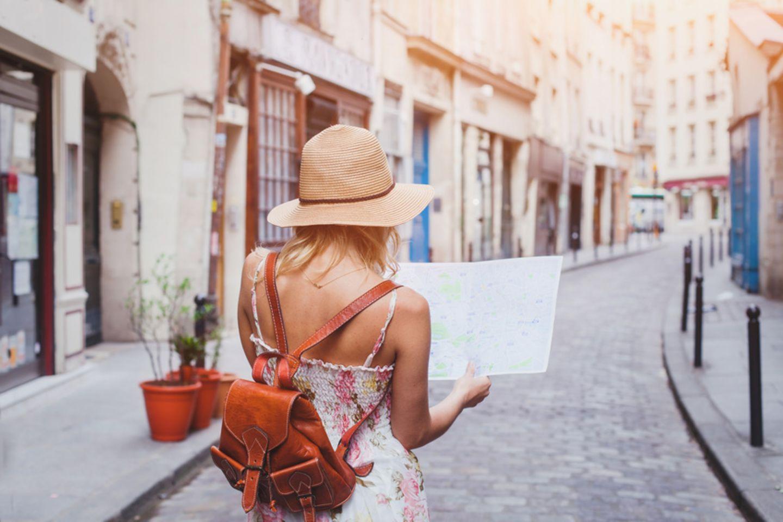 Frau, Stadtkarte, reisen
