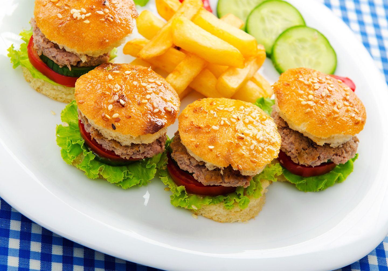 Mini Burger mit Pommes