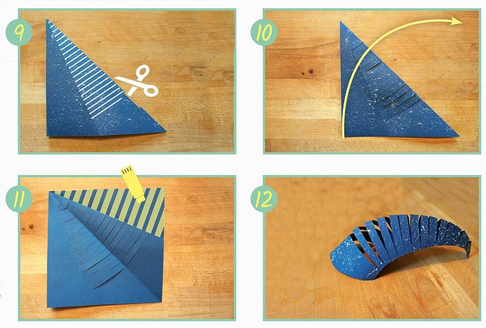 Walhai basteln mit Origamipapier