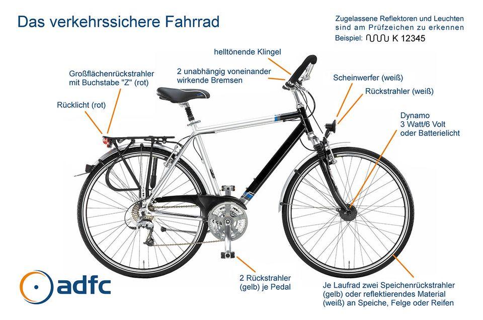 Vorschriften für ein verkehrssicheres Fahrrad ab 1. März 2017