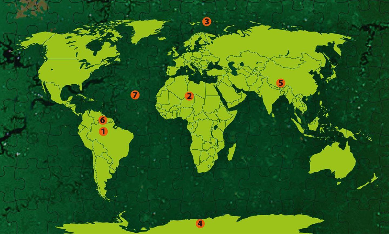 Weisse Flecken auf der Weltkarte