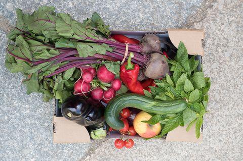 Gemüsekiste vor SirPlus