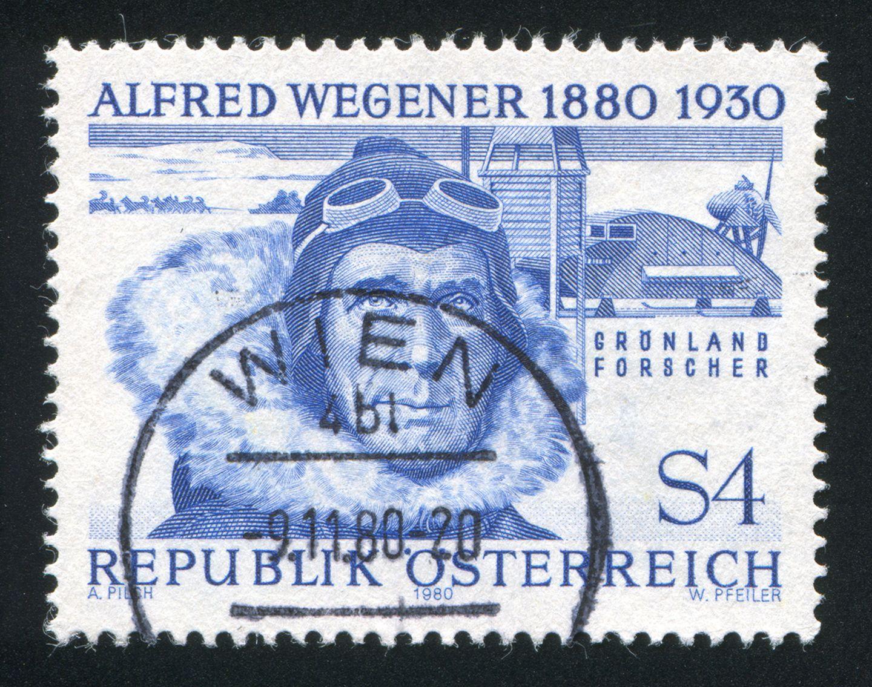 Alfred Wegener auf einer Briefmarke