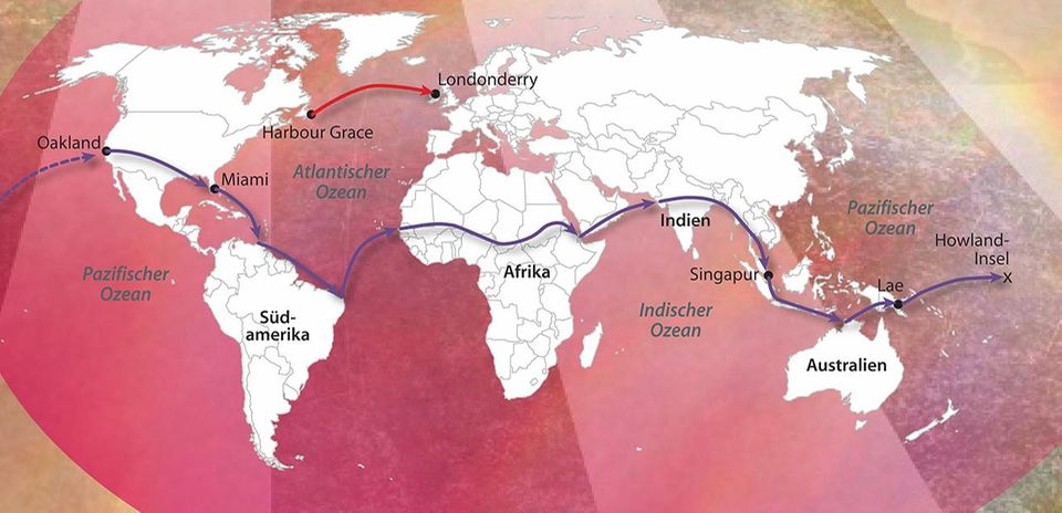 Karte der Weltumrundung von Amelia Earhart
