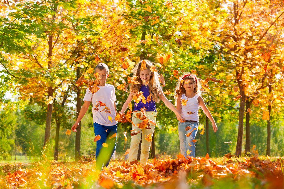 Kinder im Herbst