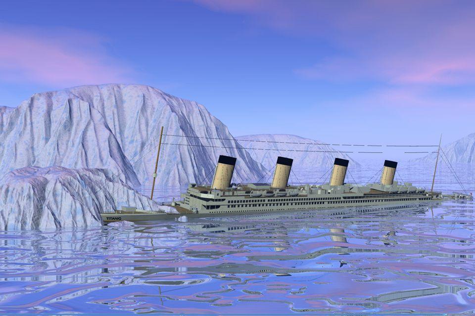 Titanic fährt auf den Eisberg