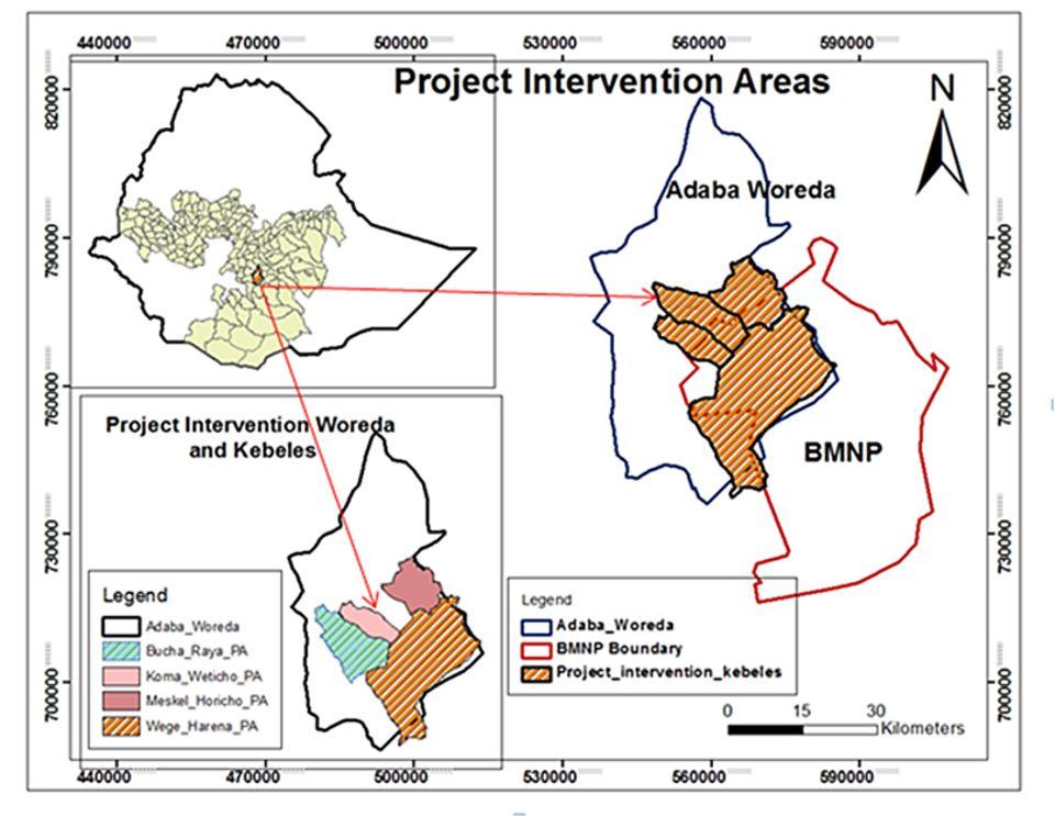 Äthiopien: Das Projektgebiet (braun) südlich der äthiopischen Hauptstadt im Distrikt Adaba (blaue Umrandung) liegt zum Großteil im Bale Mountains Nationalpark (rote Umrandung)