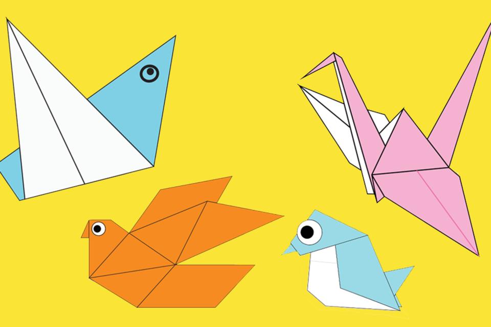 Orgami-Modelle: Vier Vögel