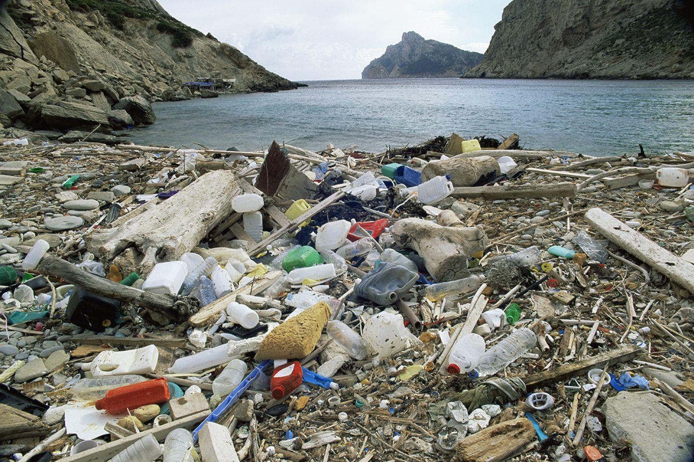 Müll an einem Strand in Mallorca