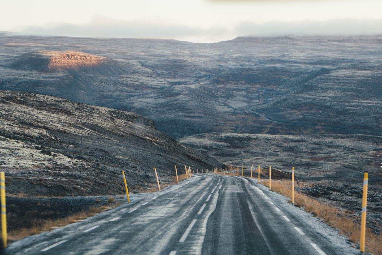 Vereiste Straße auf Island