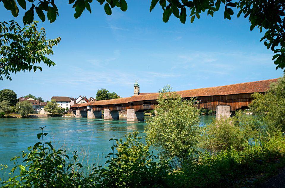 historische Holzbruecke ueber den Rhein, Bad Saeckingen