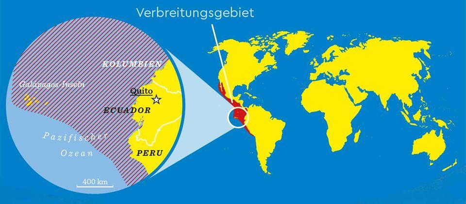 Karte: Verbreitungsgebiet der Blaufußtölpel