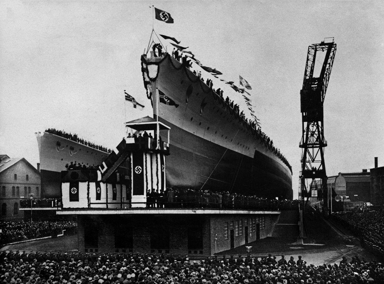 """Stapellauf des Schlachtschiffs """"Gneisenau"""", 1936"""