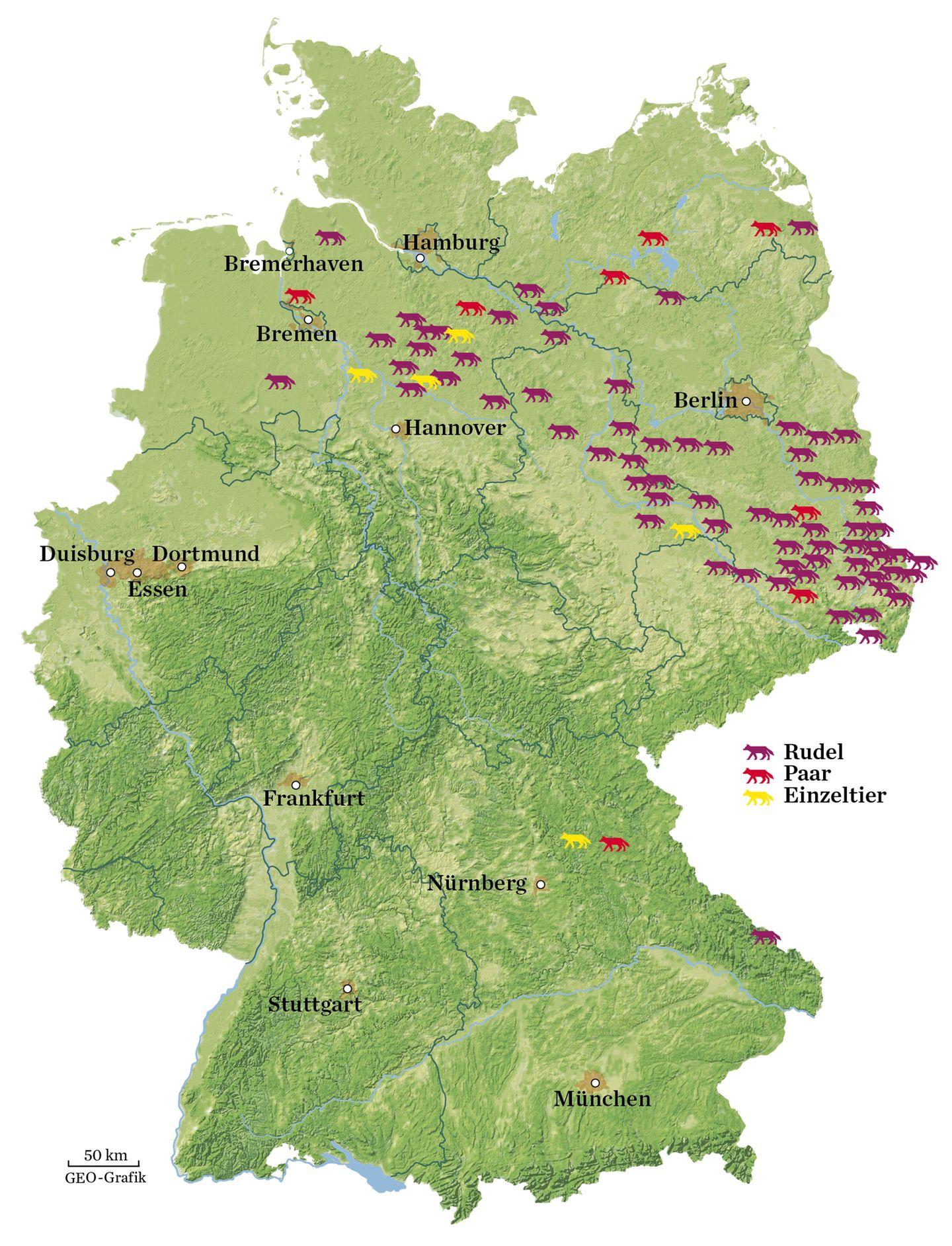 Wolf in Deutschland - Karte