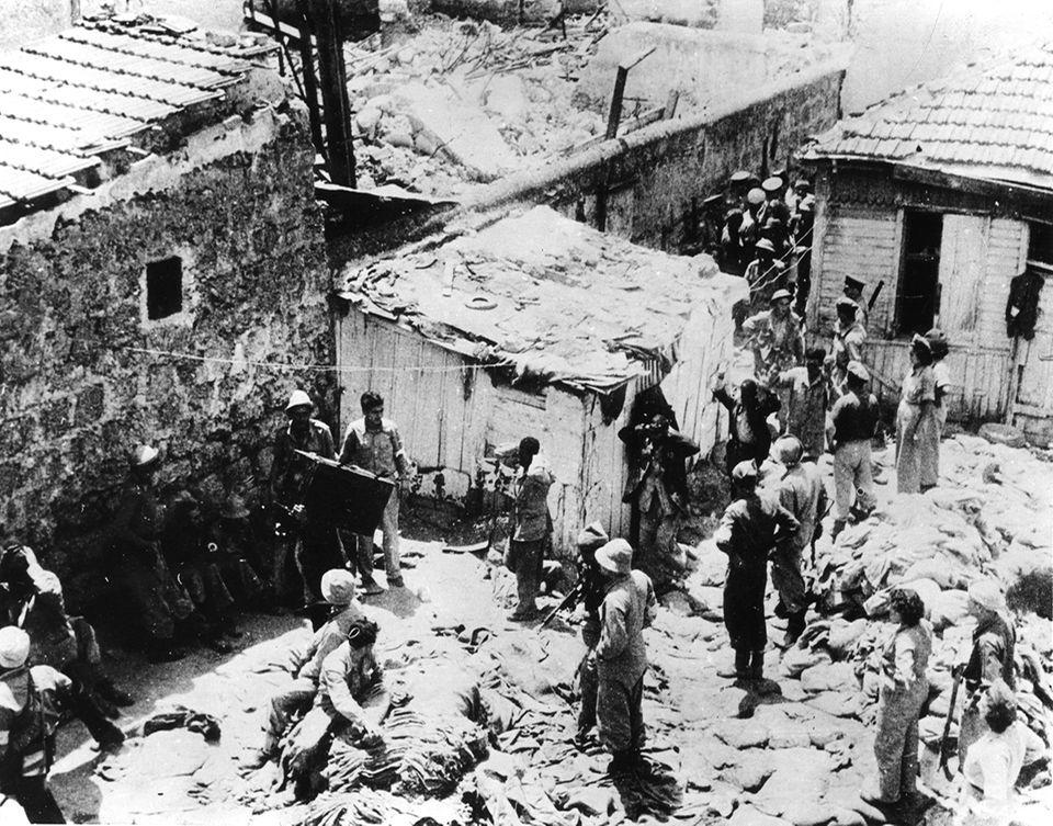 Arab.Soldaten in Lager bei Jaffa 1948