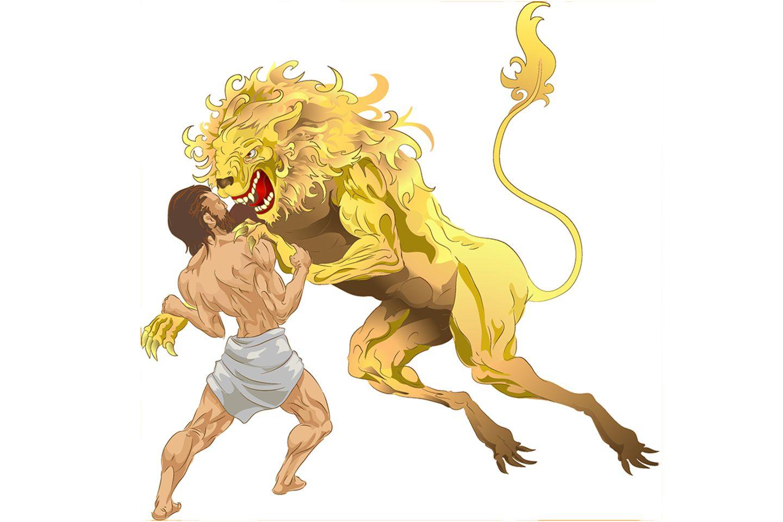 Herakles im Kampf mit dem Löwen