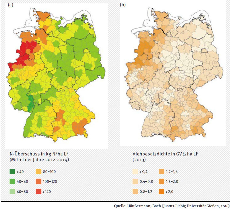 Landwirtschaftlicher Flächenbilanzüberschuss für Stickstoff (a) und Viehbesatzdichte (b) auf Kreisebene
